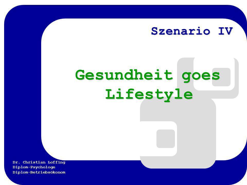 Dr. Christian Loffing Diplom-Psychologe Diplom-Betriebsökonom Szenario IV Gesundheit goes Lifestyle Gesundheit goes Lifestyle