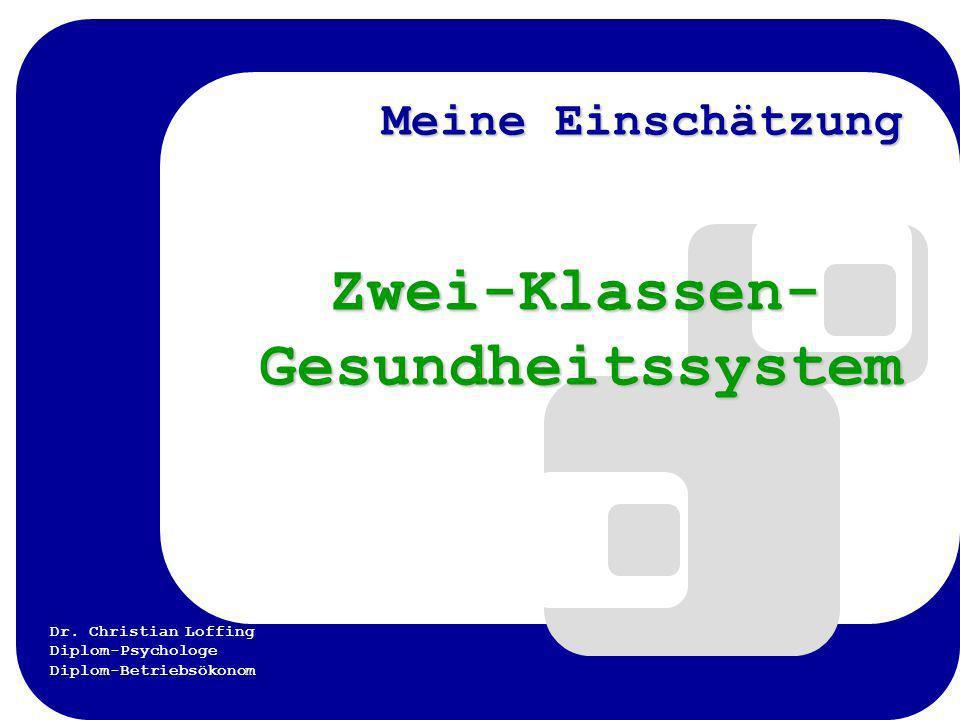Dr. Christian Loffing Diplom-Psychologe Diplom-Betriebsökonom Meine Einschätzung Zwei-Klassen- Gesundheitssystem Zwei-Klassen- Gesundheitssystem