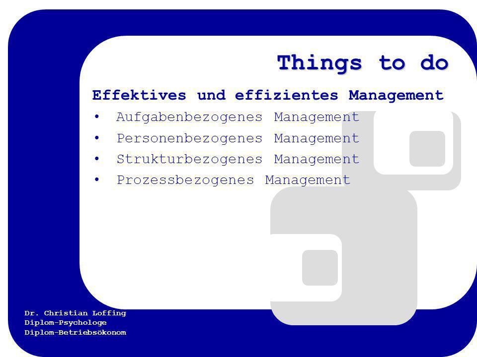 Dr. Christian Loffing Diplom-Psychologe Diplom-Betriebsökonom Things to do Effektives und effizientes Management Aufgabenbezogenes Management Personen