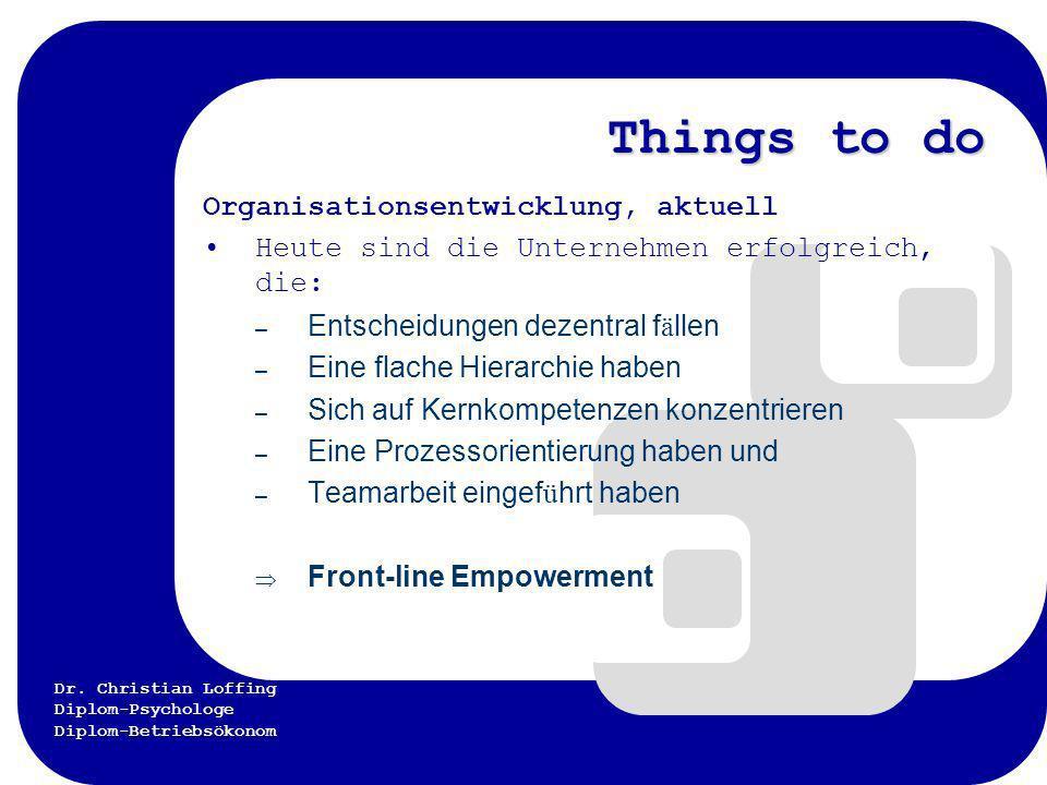 Dr. Christian Loffing Diplom-Psychologe Diplom-Betriebsökonom Things to do Organisationsentwicklung, aktuell Heute sind die Unternehmen erfolgreich, d