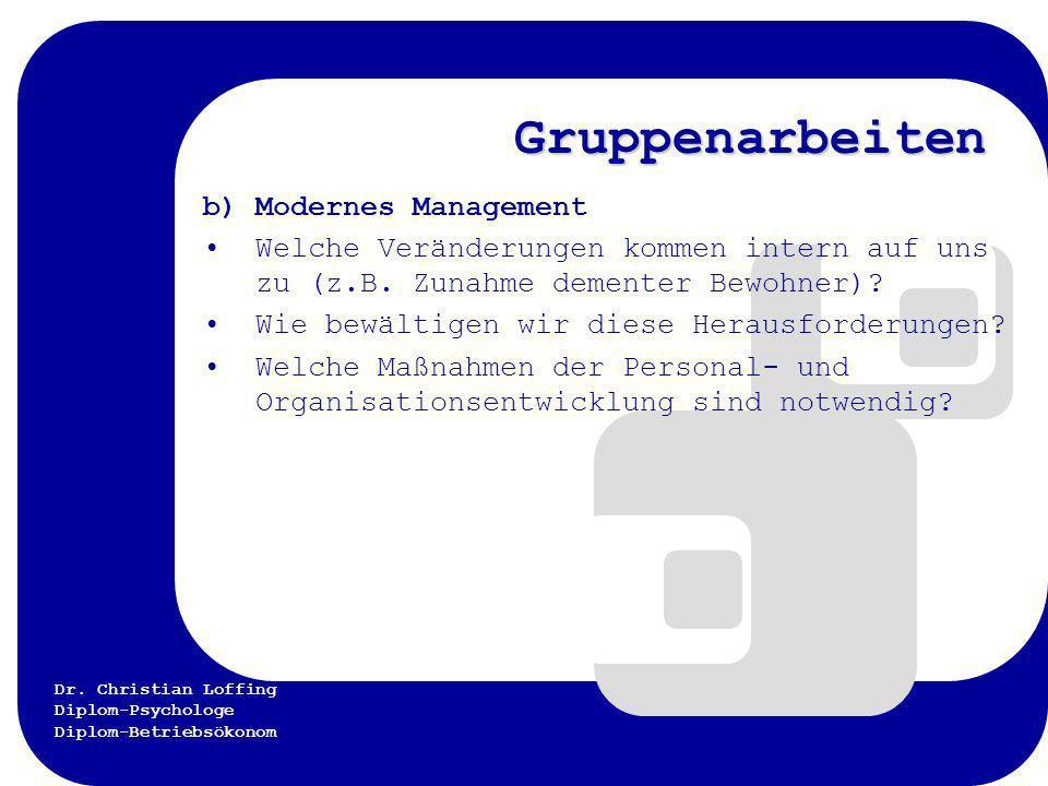 Dr. Christian Loffing Diplom-Psychologe Diplom-Betriebsökonom Gruppenarbeiten b) Modernes Management Welche Veränderungen kommen intern auf uns zu (z.