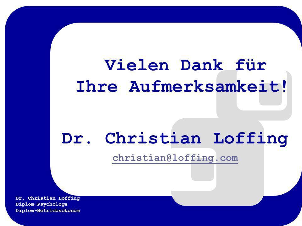 Dr. Christian Loffing Diplom-Psychologe Diplom-Betriebsökonom Vielen Dank für Ihre Aufmerksamkeit! Dr. Christian Loffing christian@loffing.com