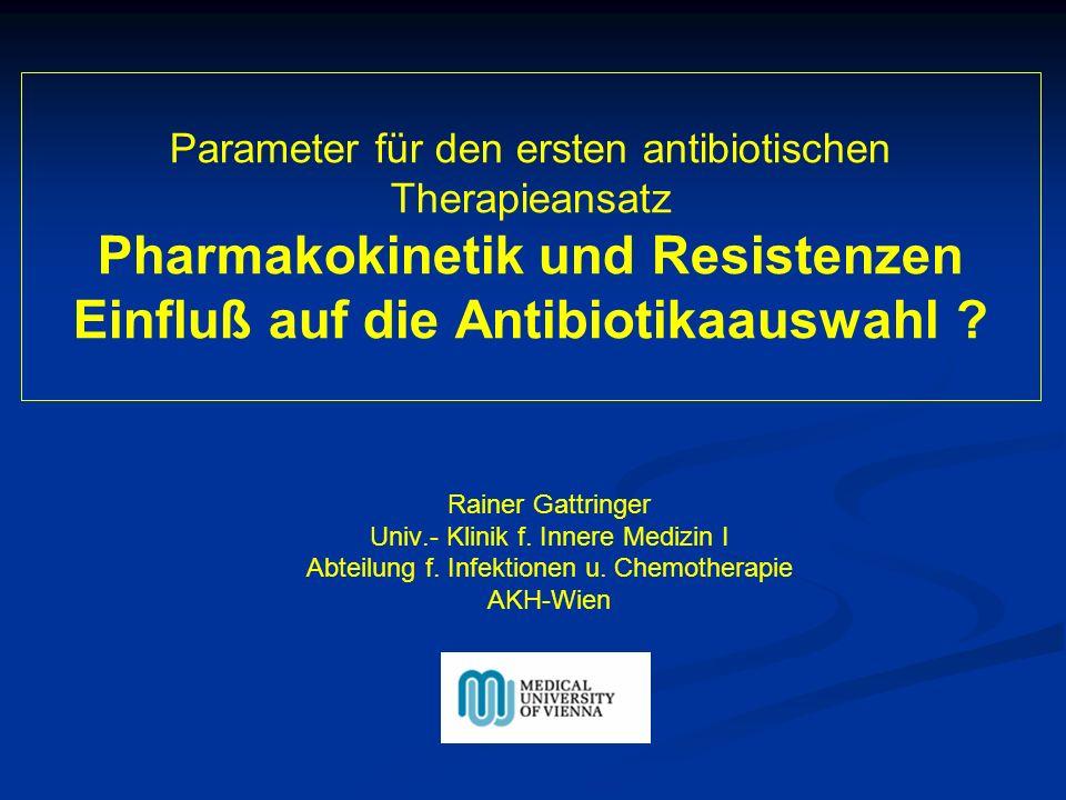Parameter für den ersten antibiotischen Therapieansatz Pharmakokinetik und Resistenzen Einfluß auf die Antibiotikaauswahl .