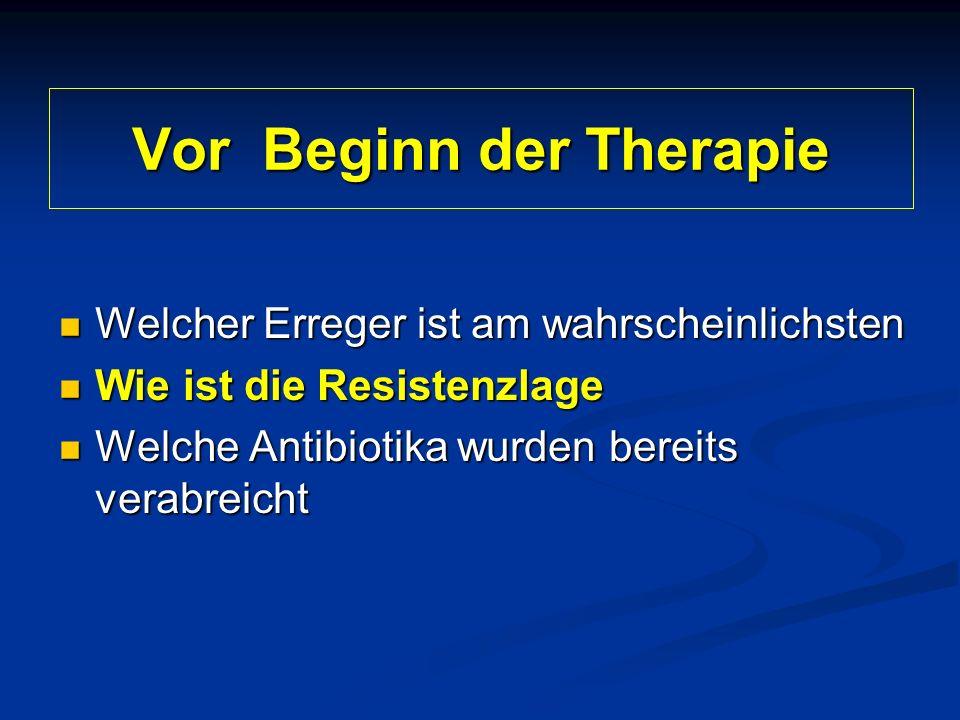 Vor Beginn der Therapie Welcher Erreger ist am wahrscheinlichsten Welcher Erreger ist am wahrscheinlichsten Wie ist die Resistenzlage Wie ist die Resistenzlage Welche Antibiotika wurden bereits verabreicht Welche Antibiotika wurden bereits verabreicht