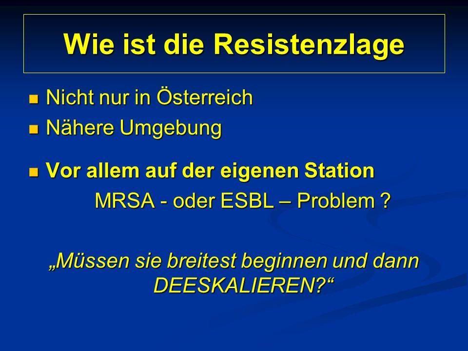 Wie ist die Resistenzlage Nicht nur in Österreich Nicht nur in Österreich Nähere Umgebung Nähere Umgebung Vor allem auf der eigenen Station Vor allem auf der eigenen Station MRSA - oder ESBL – Problem .