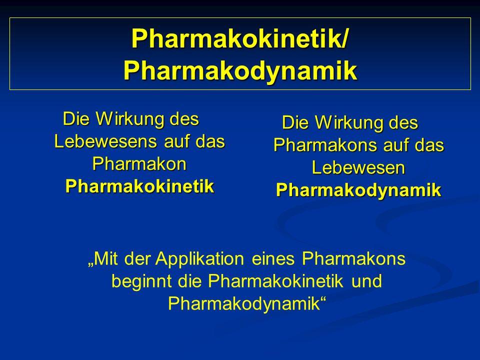 Pharmakokinetik/ Pharmakodynamik Die Wirkung des Lebewesens auf das Pharmakon Pharmakokinetik Die Wirkung des Pharmakons auf das Lebewesen Pharmakodyn