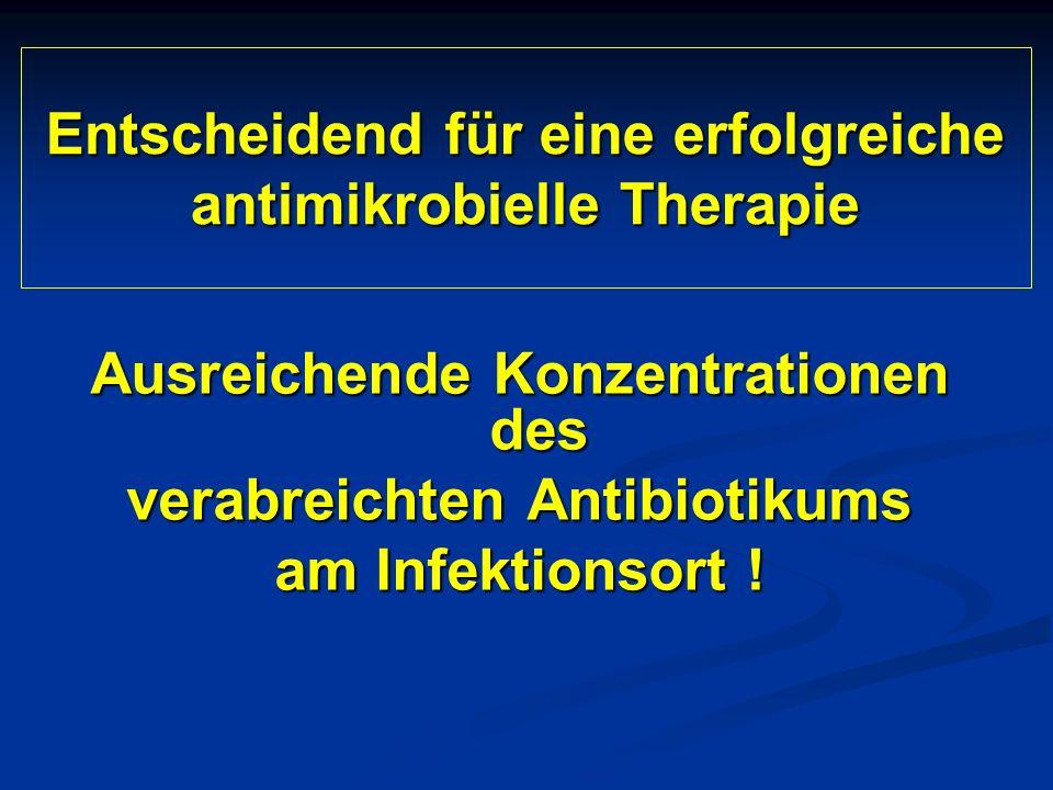 Entscheidend für eine erfolgreiche antimikrobielle Therapie Ausreichende Konzentrationen des verabreichten Antibiotikums am Infektionsort !