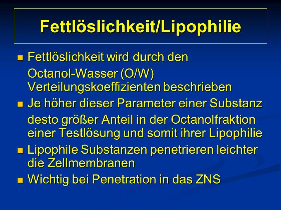 Fettlöslichkeit/Lipophilie Fettlöslichkeit wird durch den Fettlöslichkeit wird durch den Octanol-Wasser (O/W) Verteilungskoeffizienten beschrieben Je höher dieser Parameter einer Substanz Je höher dieser Parameter einer Substanz desto größer Anteil in der Octanolfraktion einer Testlösung und somit ihrer Lipophilie Lipophile Substanzen penetrieren leichter die Zellmembranen Lipophile Substanzen penetrieren leichter die Zellmembranen Wichtig bei Penetration in das ZNS Wichtig bei Penetration in das ZNS
