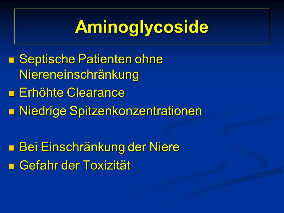 Aminoglycoside Septische Patienten ohne Niereneinschränkung Septische Patienten ohne Niereneinschränkung Erhöhte Clearance Erhöhte Clearance Niedrige