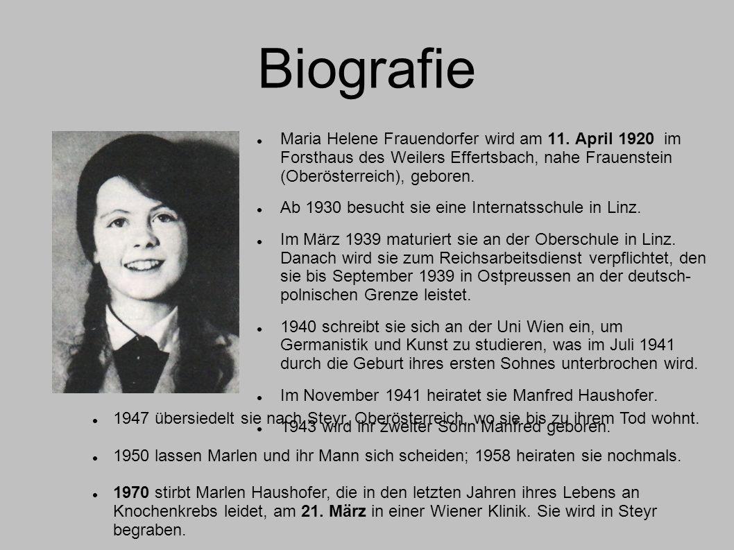 Biografie Maria Helene Frauendorfer wird am 11. April 1920 im Forsthaus des Weilers Effertsbach, nahe Frauenstein (Oberösterreich), geboren. Ab 1930 b