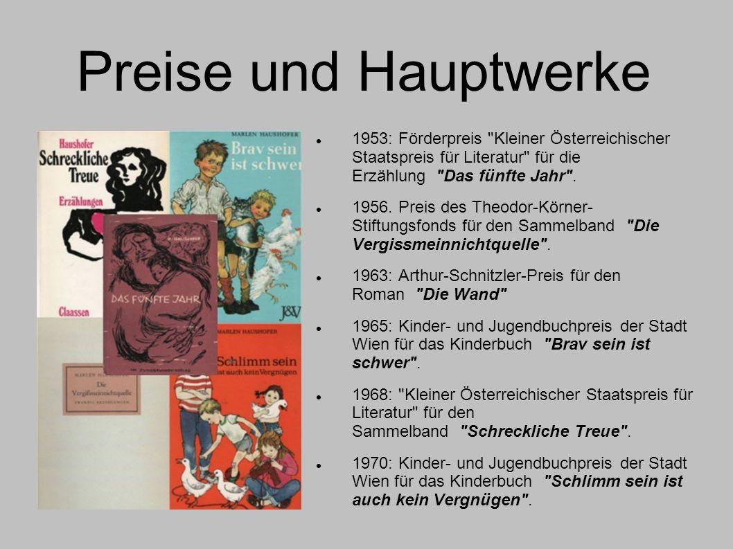 Preise und Hauptwerke 1953: Förderpreis