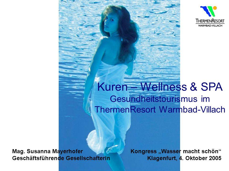 Kuren – Wellness & SPA Gesundheitstourismus im ThermenResort Warmbad-Villach Mag. Susanna Mayerhofer Geschäftsführende Gesellschafterin Kongress Wasse