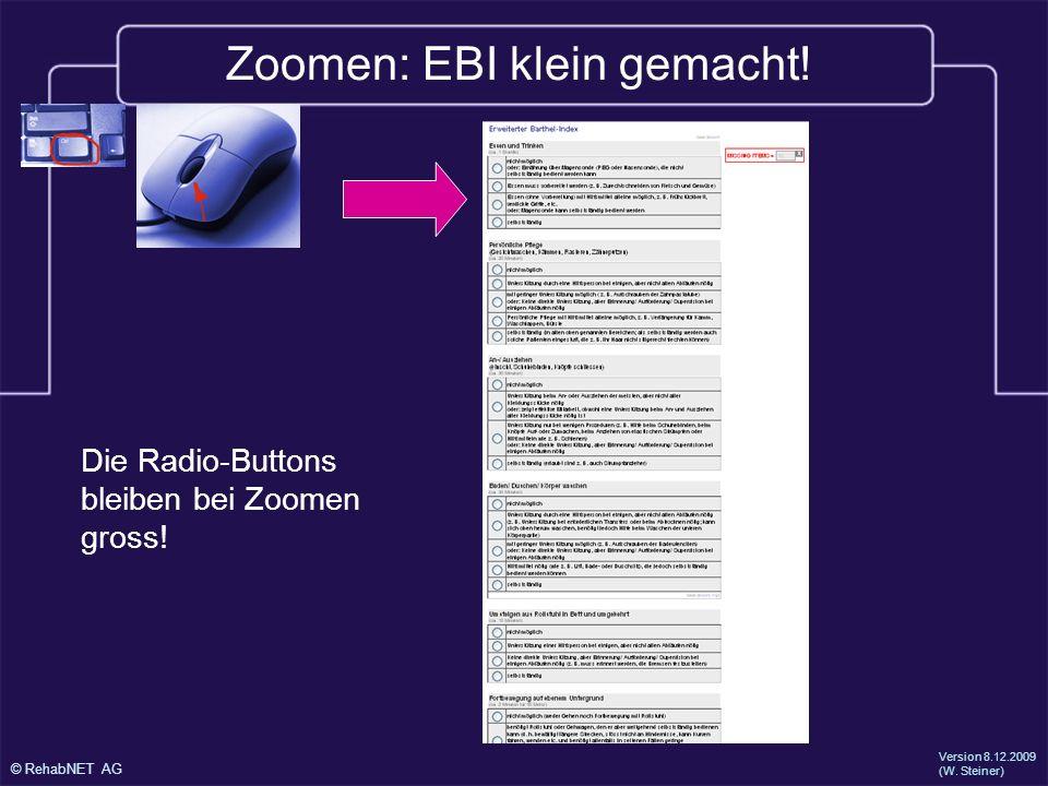 © RehabNET AG Version 8.12.2009 (W.Steiner) Zoomen: EBI klein gemacht.