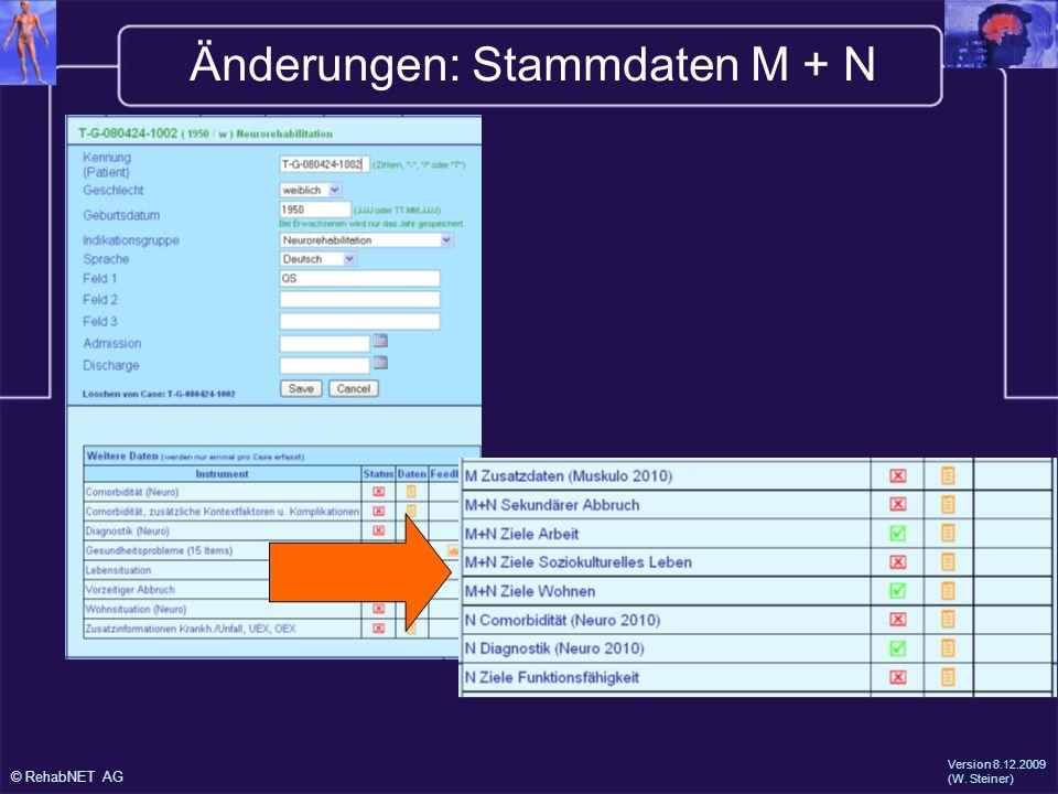 © RehabNET AG Version 8.12.2009 (W. Steiner) Änderungen: Stammdaten M + N