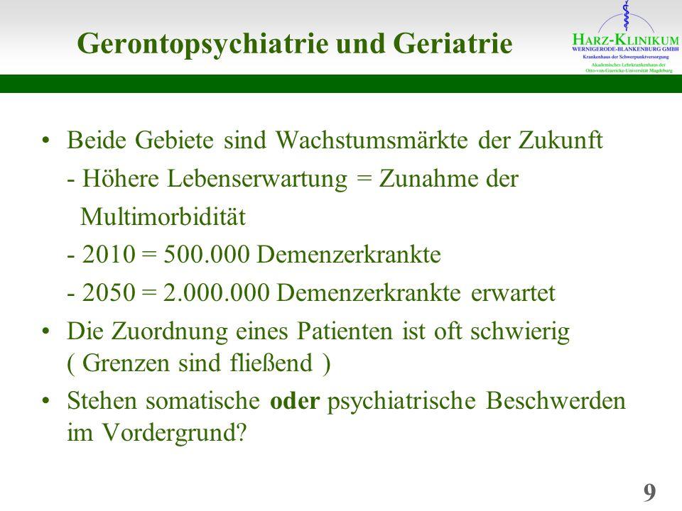 Gerontopsychiatrie und Geriatrie Beide Gebiete sind Wachstumsmärkte der Zukunft - Höhere Lebenserwartung = Zunahme der Multimorbidität - 2010 = 500.000 Demenzerkrankte - 2050 = 2.000.000 Demenzerkrankte erwartet Die Zuordnung eines Patienten ist oft schwierig ( Grenzen sind fließend ) Stehen somatische oder psychiatrische Beschwerden im Vordergrund.