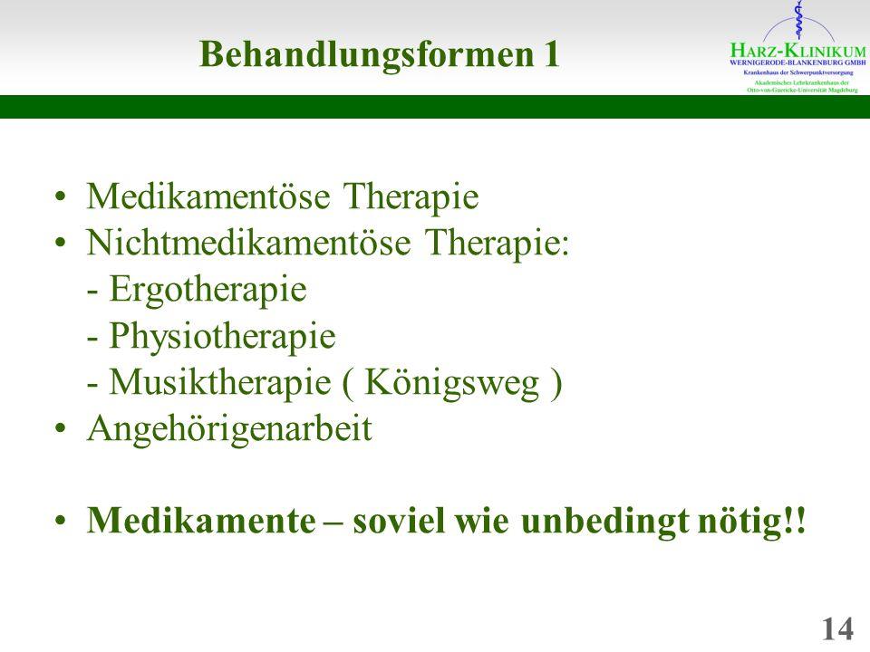 Behandlungsformen 1 Medikamentöse Therapie Nichtmedikamentöse Therapie: - Ergotherapie - Physiotherapie - Musiktherapie ( Königsweg ) Angehörigenarbeit Medikamente – soviel wie unbedingt nötig!.