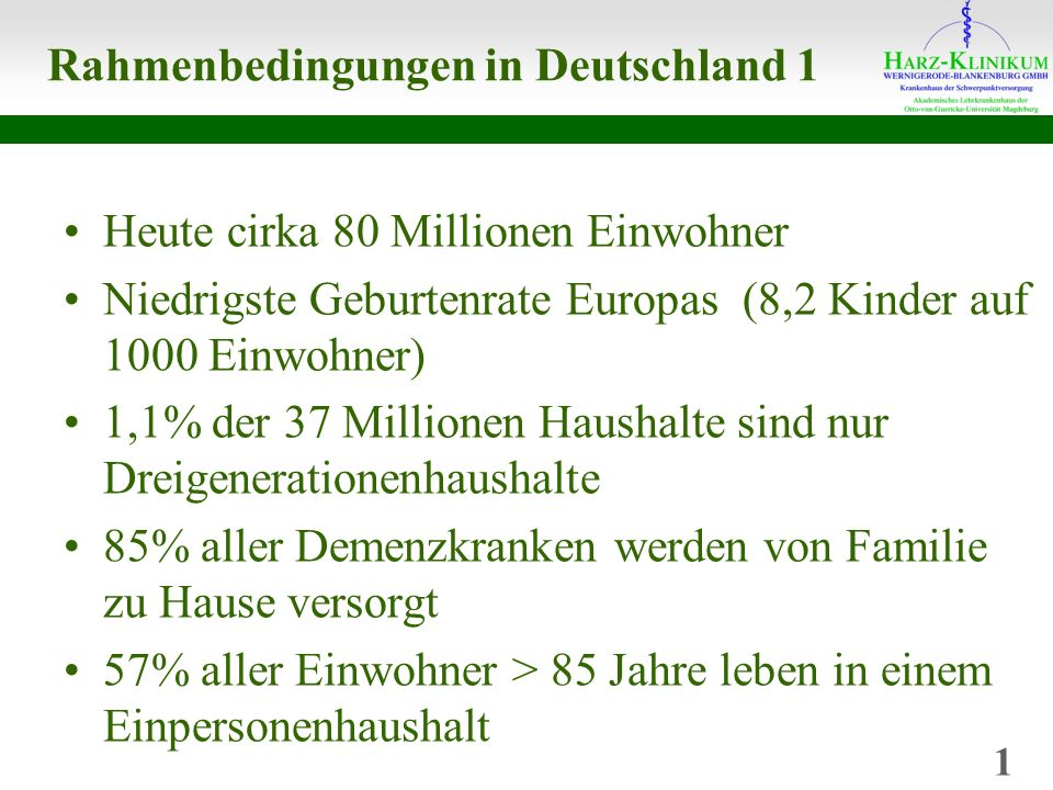 Rahmenbedingungen in Deutschland 1 Heute cirka 80 Millionen Einwohner Niedrigste Geburtenrate Europas (8,2 Kinder auf 1000 Einwohner) 1,1% der 37 Millionen Haushalte sind nur Dreigenerationenhaushalte 85% aller Demenzkranken werden von Familie zu Hause versorgt 57% aller Einwohner > 85 Jahre leben in einem Einpersonenhaushalt 1