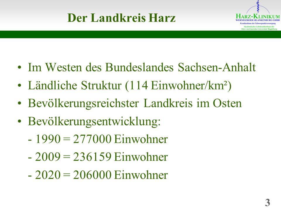 Der Landkreis Harz Im Westen des Bundeslandes Sachsen-Anhalt Ländliche Struktur (114 Einwohner/km²) Bevölkerungsreichster Landkreis im Osten Bevölkerungsentwicklung: - 1990 = 277000 Einwohner - 2009 = 236159 Einwohner - 2020 = 206000 Einwohner 3