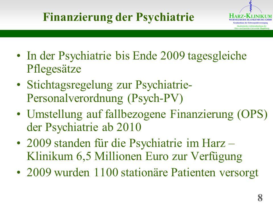 Finanzierung der Psychiatrie In der Psychiatrie bis Ende 2009 tagesgleiche Pflegesätze Stichtagsregelung zur Psychiatrie- Personalverordnung (Psych-PV) Umstellung auf fallbezogene Finanzierung (OPS) der Psychiatrie ab 2010 2009 standen für die Psychiatrie im Harz – Klinikum 6,5 Millionen Euro zur Verfügung 2009 wurden 1100 stationäre Patienten versorgt 8