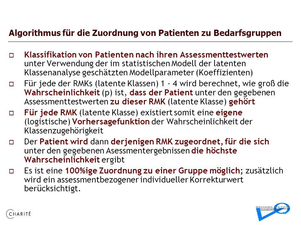 Algorithmus für die Zuordnung von Patienten zu Bedarfsgruppen Klassifikation von Patienten nach ihren Assessmenttestwerten unter Verwendung der im sta