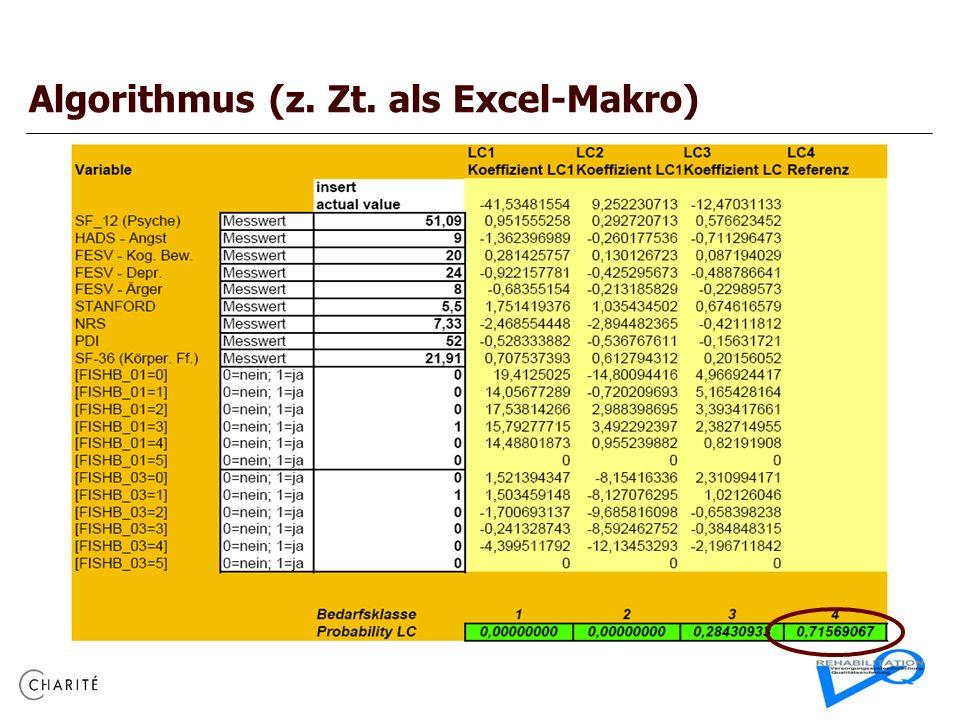 Algorithmus (z. Zt. als Excel-Makro)