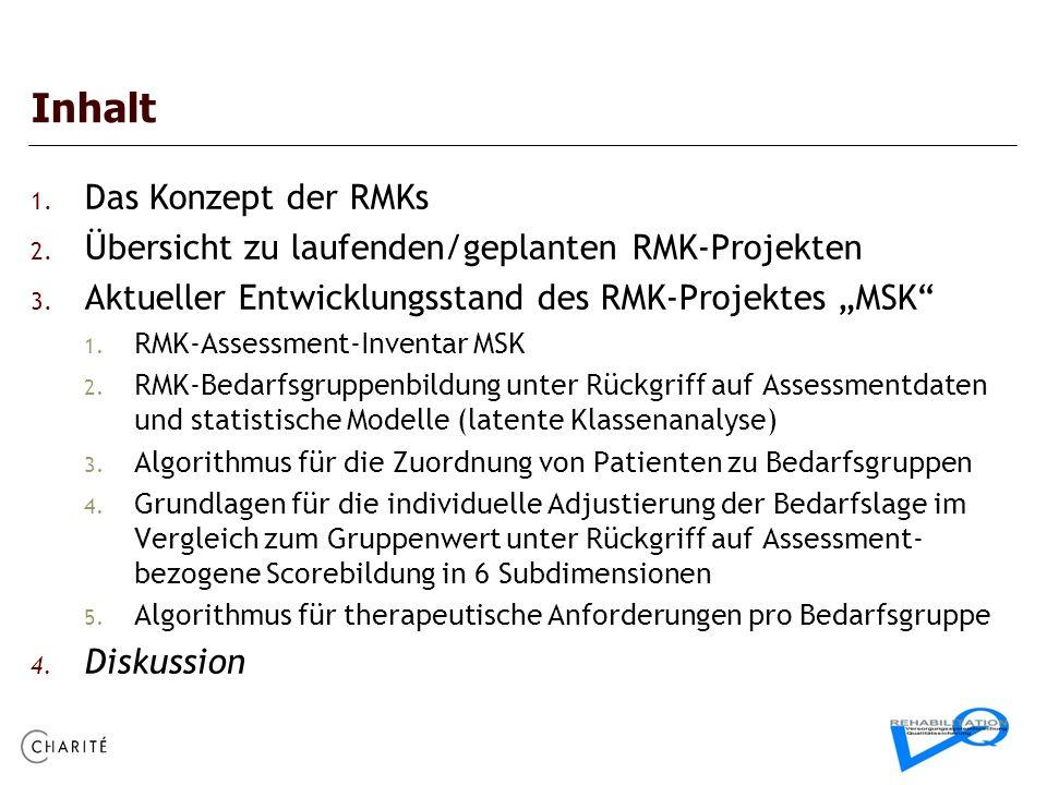 Inhalt 1. Das Konzept der RMKs 2. Übersicht zu laufenden/geplanten RMK-Projekten 3. Aktueller Entwicklungsstand des RMK-Projektes MSK 1. RMK-Assessmen