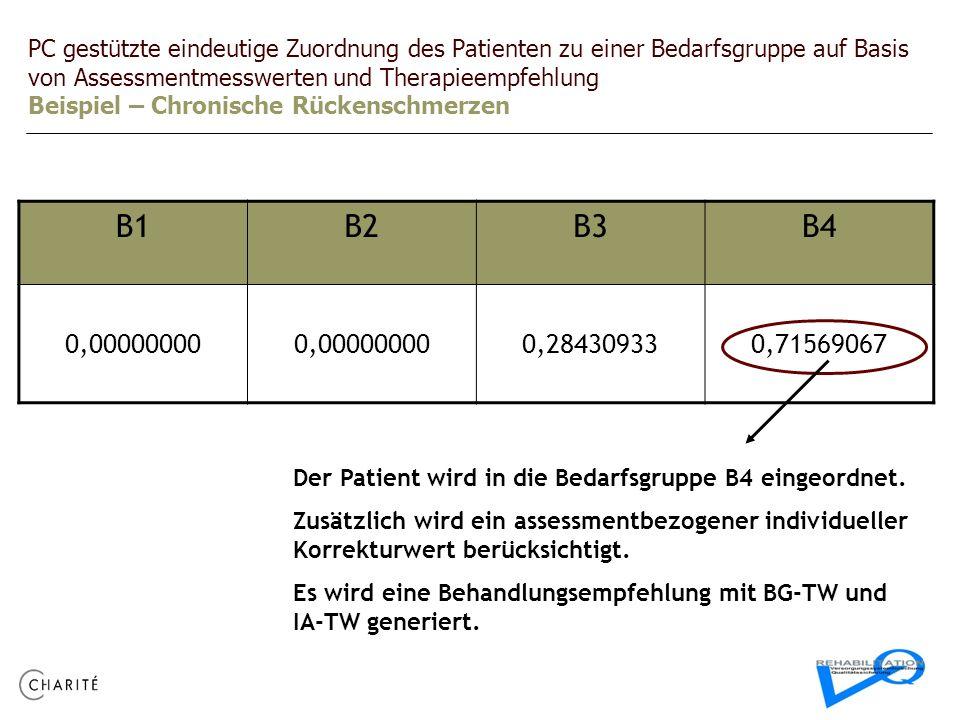 PC gestützte eindeutige Zuordnung des Patienten zu einer Bedarfsgruppe auf Basis von Assessmentmesswerten und Therapieempfehlung Beispiel – Chronische