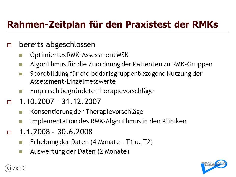 Rahmen-Zeitplan für den Praxistest der RMKs bereits abgeschlossen Optimiertes RMK-Assessment MSK Algorithmus für die Zuordnung der Patienten zu RMK-Gr