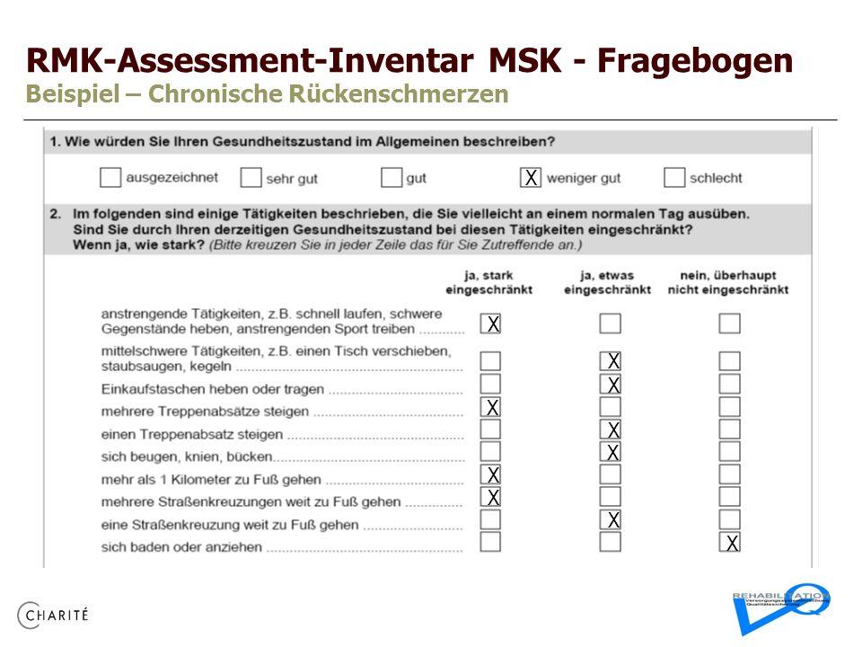RMK-Assessment-Inventar MSK - Fragebogen Beispiel – Chronische Rückenschmerzen X X X X X X X X X X X