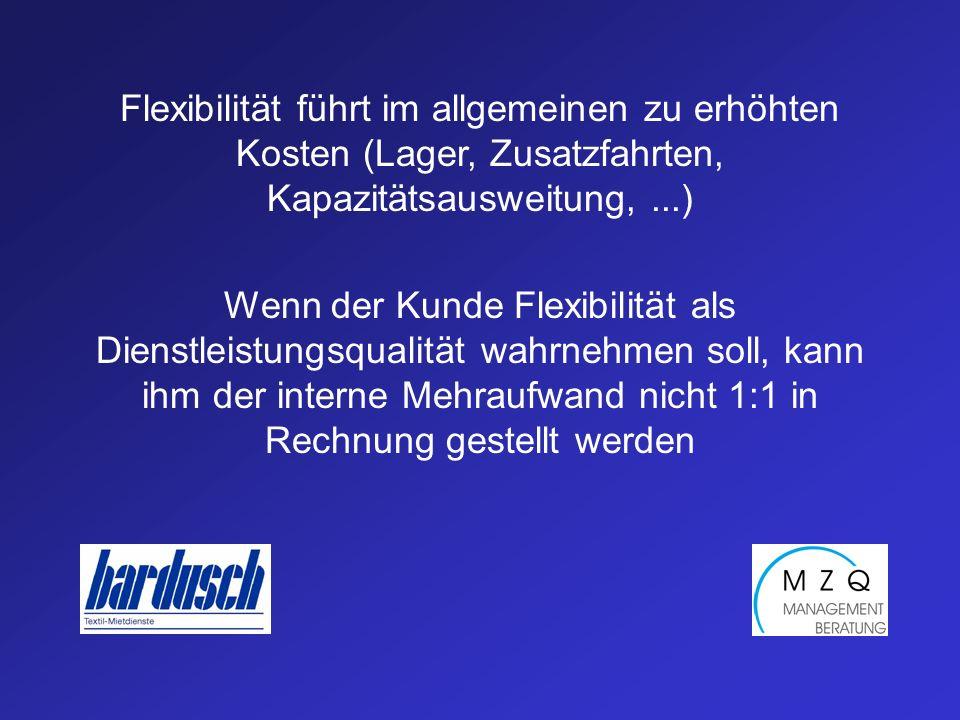 Flexibilität führt im allgemeinen zu erhöhten Kosten (Lager, Zusatzfahrten, Kapazitätsausweitung,...) Wenn der Kunde Flexibilität als Dienstleistungsqualität wahrnehmen soll, kann ihm der interne Mehraufwand nicht 1:1 in Rechnung gestellt werden