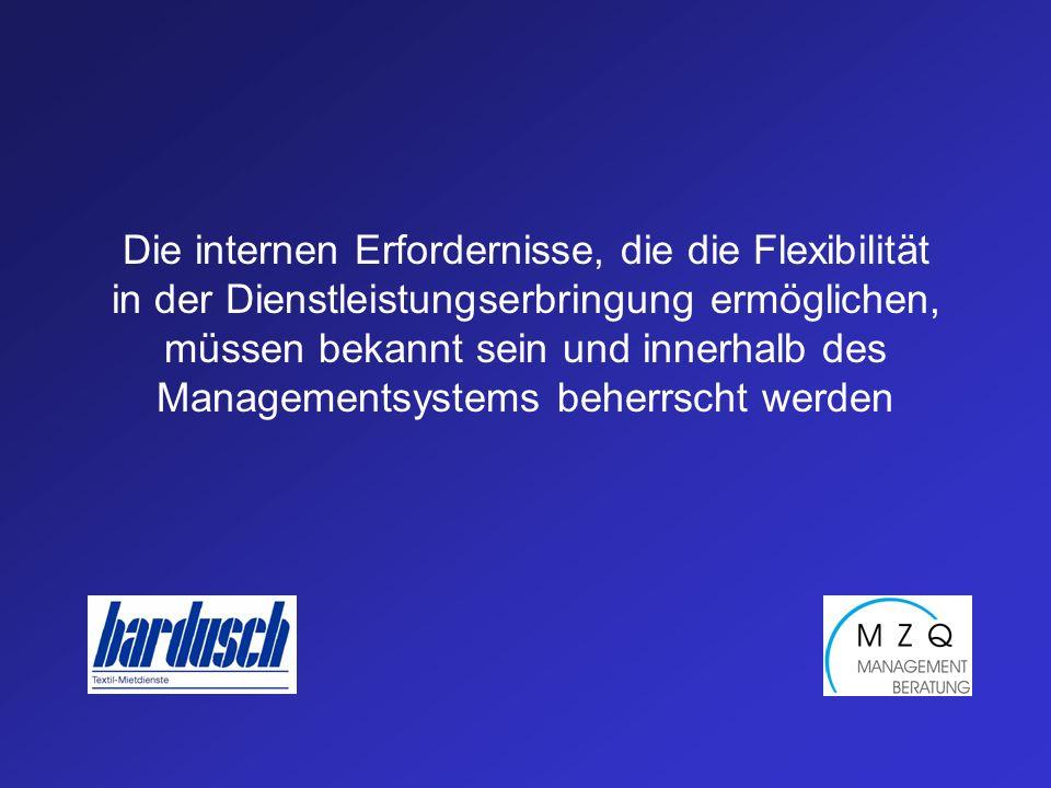 Die internen Erfordernisse, die die Flexibilität in der Dienstleistungserbringung ermöglichen, müssen bekannt sein und innerhalb des Managementsystems
