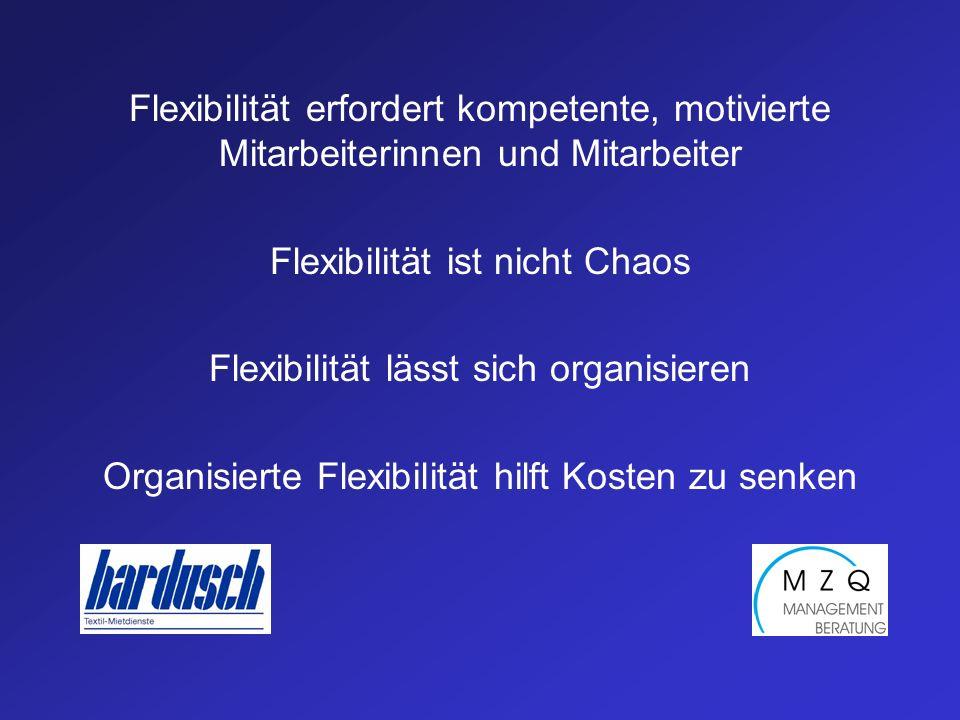 Flexibilität erfordert kompetente, motivierte Mitarbeiterinnen und Mitarbeiter Flexibilität ist nicht Chaos Flexibilität lässt sich organisieren Organisierte Flexibilität hilft Kosten zu senken