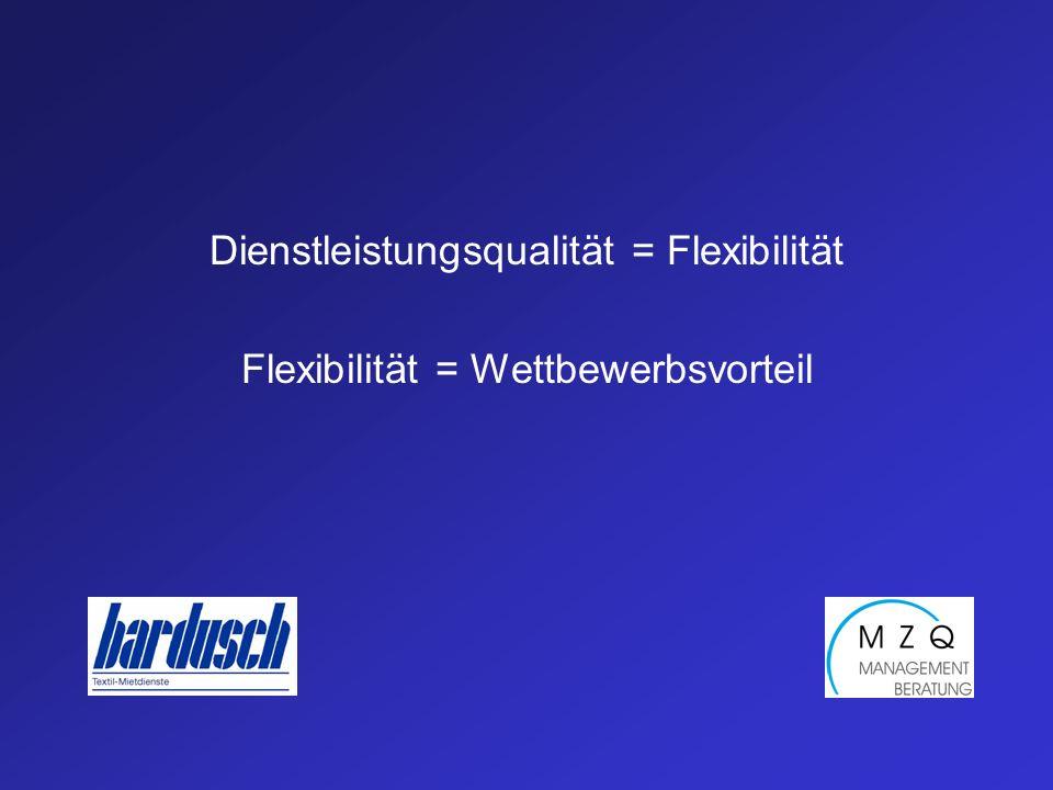 Dienstleistungsqualität = Flexibilität Flexibilität = Wettbewerbsvorteil