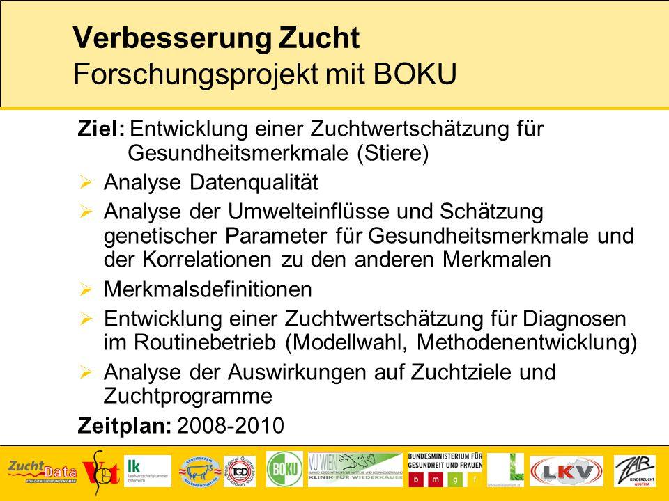 Verbesserung Zucht Forschungsprojekt mit BOKU Ziel: Entwicklung einer Zuchtwertschätzung für Gesundheitsmerkmale (Stiere) Analyse Datenqualität Analys