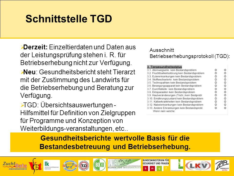 Schnittstelle TGD Derzeit: Einzeltierdaten und Daten aus der Leistungsprüfung stehen i. R. für Betriebserhebung nicht zur Verfügung. Neu: Gesundheitsb
