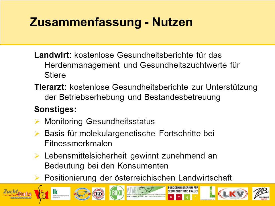 Zusammenfassung - Nutzen Landwirt: kostenlose Gesundheitsberichte für das Herdenmanagement und Gesundheitszuchtwerte für Stiere Tierarzt: kostenlose G