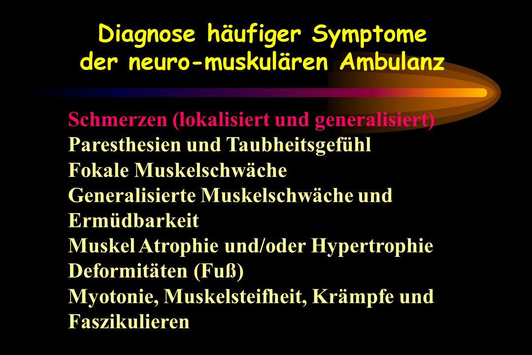 Schmerzen (lokalisiert und generalisiert) Paresthesien und Taubheitsgefühl Fokale Muskelschwäche Generalisierte Muskelschwäche und Ermüdbarkeit Muskel