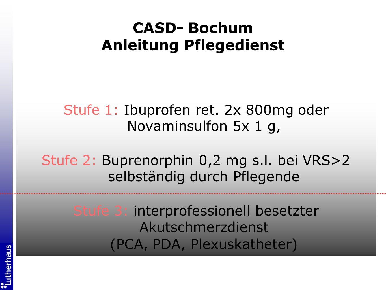 Schmerzmessung auf Station wiederbelebt Mit Operateuren Basistherapie festgelegt Interventionsgrenzen (> 2 VRS) festgelegt Anästhesiologischen Katheterdienst in ASD umgewandelt Spezielle Verfahren optimiert (PCA, Regionalverfahren) CASD- Bochum Konsequenzen (2001)