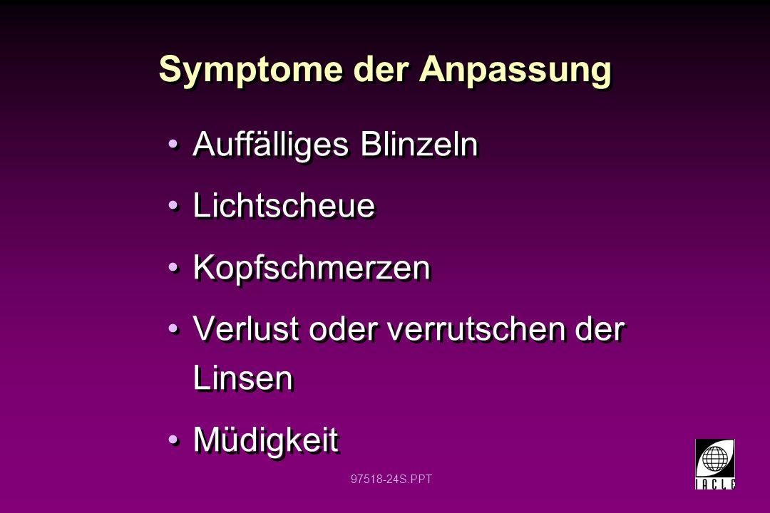 97518-24S.PPT Symptome der Anpassung Auffälliges Blinzeln Lichtscheue Kopfschmerzen Verlust oder verrutschen der Linsen Müdigkeit Auffälliges Blinzeln