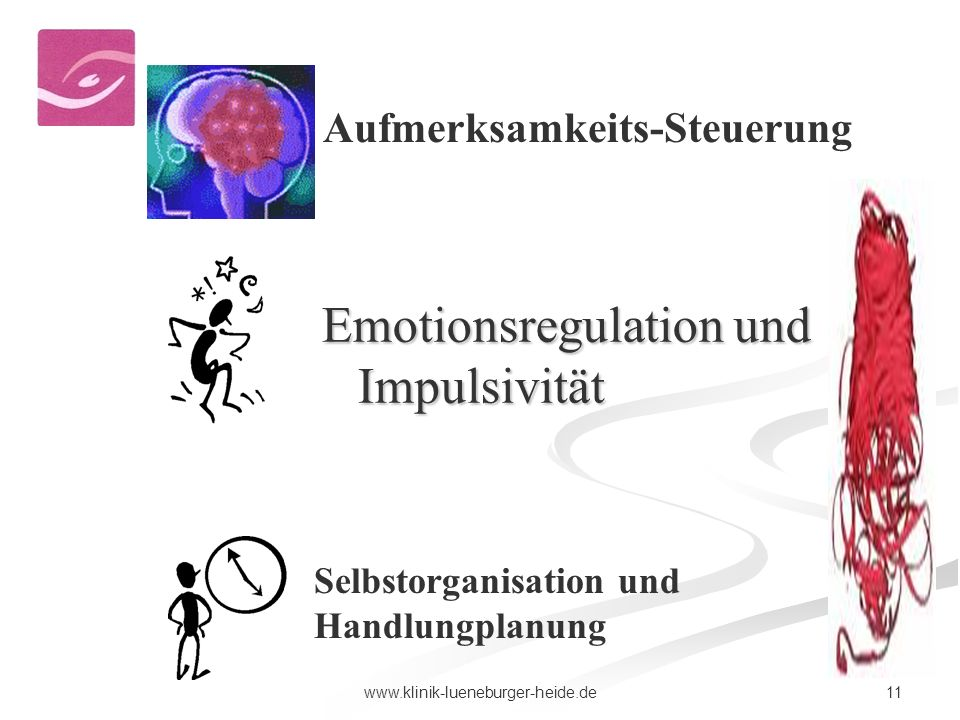 11www.klinik-lueneburger-heide.de Aufmerksamkeits-Steuerung Selbstorganisation und Handlungplanung Emotionsregulation und Impulsivität