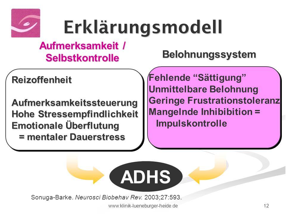 12www.klinik-lueneburger-heide.de Aufmerksamkeit / Selbstkontrolle Belohnungssystem ReizoffenheitAufmerksamkeitssteuerung Hohe Stressempfindlichkeit E