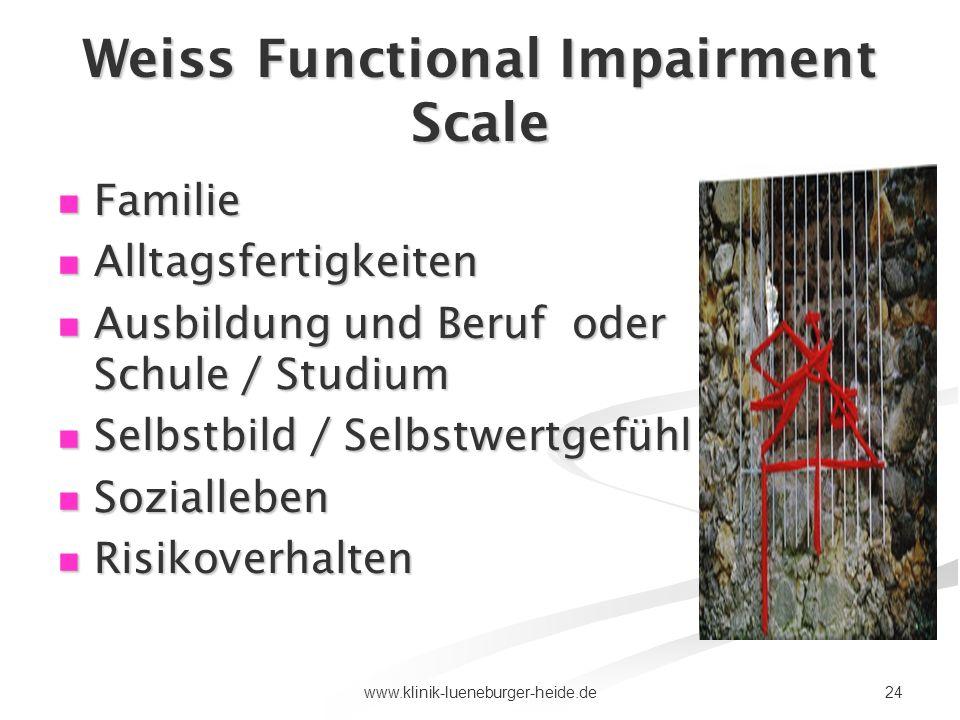 24www.klinik-lueneburger-heide.de Weiss Functional Impairment Scale Familie Familie Alltagsfertigkeiten Alltagsfertigkeiten Ausbildung und Beruf oder