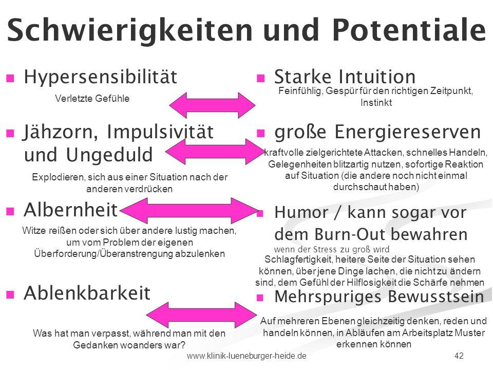 42www.klinik-lueneburger-heide.de Schwierigkeiten und Potentiale 5) Hypersensibilität Jähzorn, Impulsivität und Ungeduld Albernheit Ablenkbarkeit Star