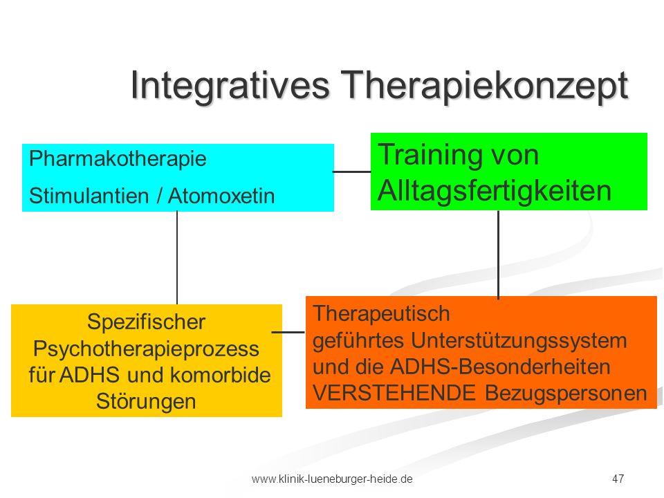 47www.klinik-lueneburger-heide.de Pharmakotherapie Stimulantien / Atomoxetin Training von Alltagsfertigkeiten Spezifischer Psychotherapieprozess für A