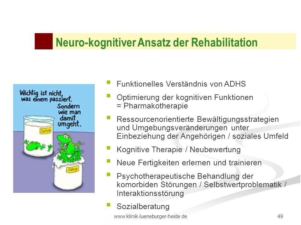 49www.klinik-lueneburger-heide.de Neuro-kognitiver Ansatz der Rehabilitation Funktionelles Verständnis von ADHS Optimierung der kognitiven Funktionen