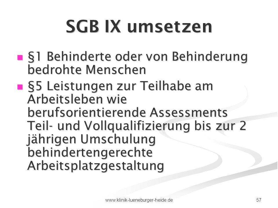 57www.klinik-lueneburger-heide.de SGB IX umsetzen §1 Behinderte oder von Behinderung bedrohte Menschen §1 Behinderte oder von Behinderung bedrohte Men