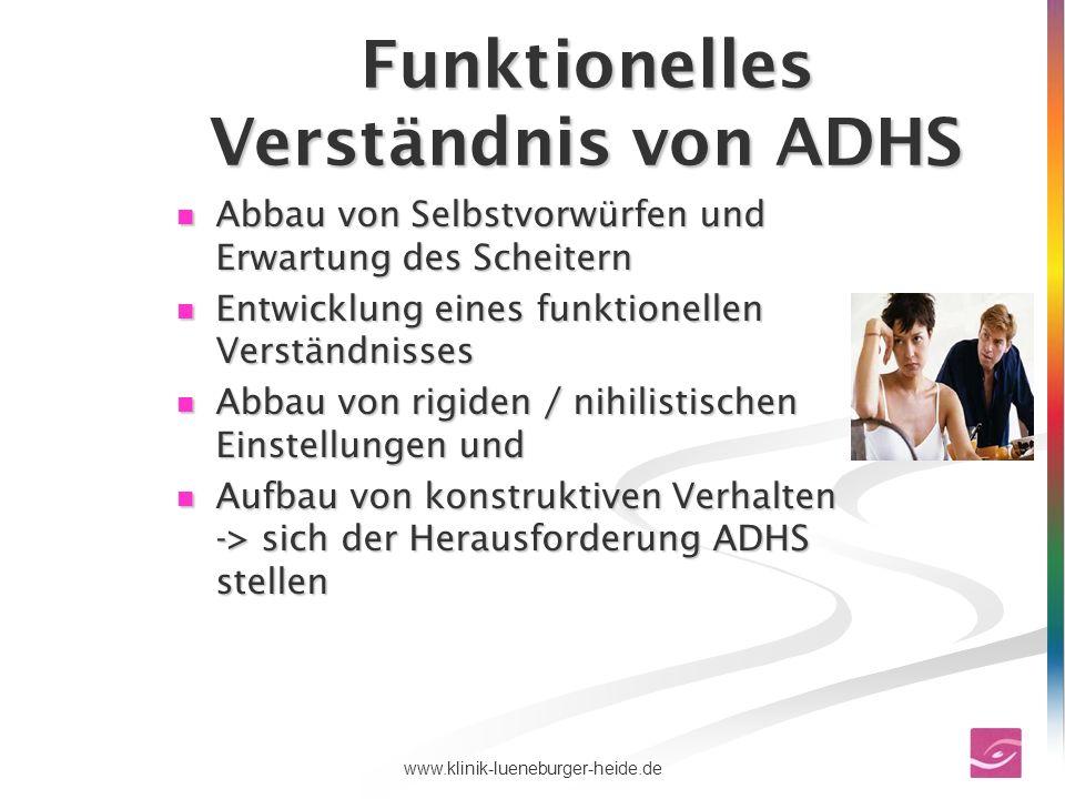 74www.klinik-lueneburger-heide.de Funktionelles Verständnis von ADHS Abbau von Selbstvorwürfen und Erwartung des Scheitern Abbau von Selbstvorwürfen u
