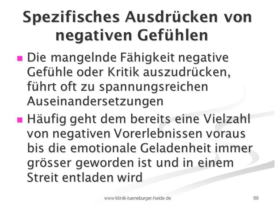89www.klinik-lueneburger-heide.de Spezifisches Ausdrücken von negativen Gefühlen Die mangelnde Fähigkeit negative Gefühle oder Kritik auszudrücken, fü