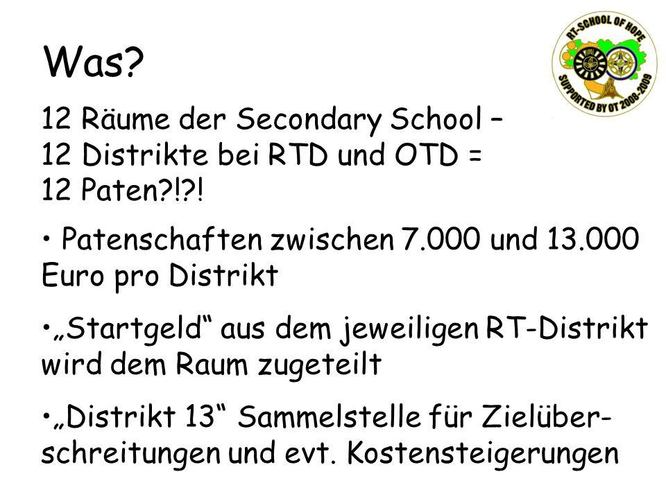 12 Räume der Secondary School – 12 Distrikte bei RTD und OTD = 12 Paten?!?! Patenschaften zwischen 7.000 und 13.000 Euro pro Distrikt Startgeld aus de
