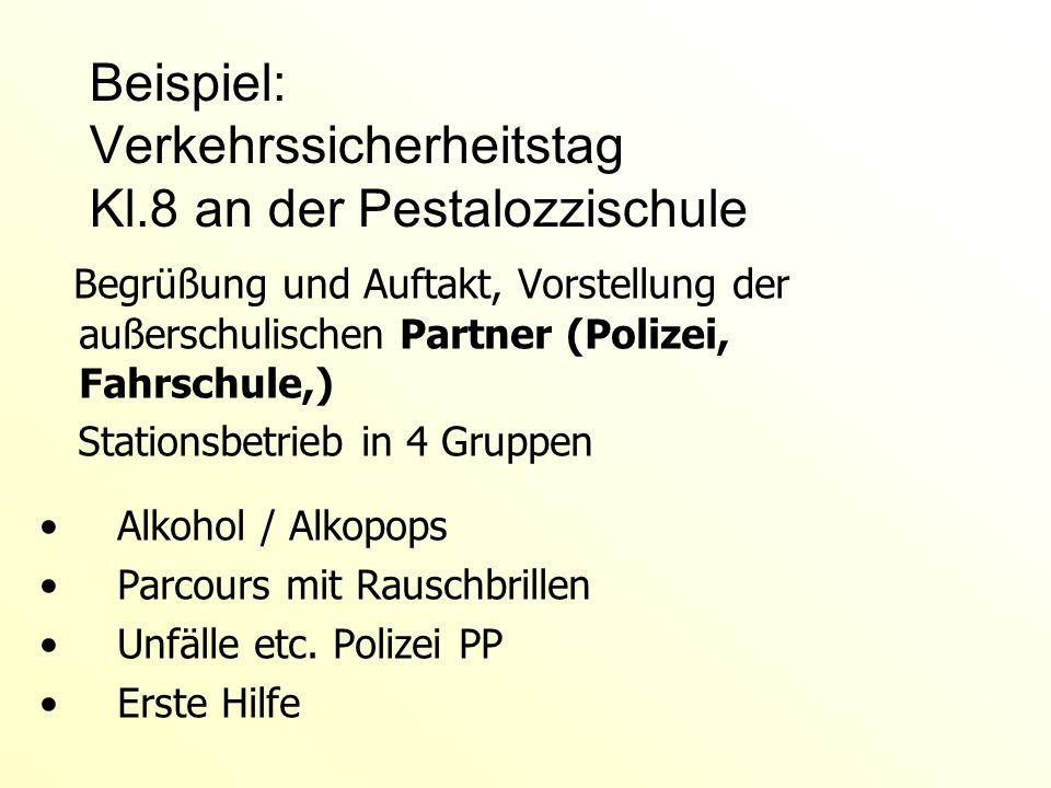 Beispiel: Verkehrssicherheitstag Kl.8 an der Pestalozzischule Begrüßung und Auftakt, Vorstellung der außerschulischen Partner (Polizei, Fahrschule,) S